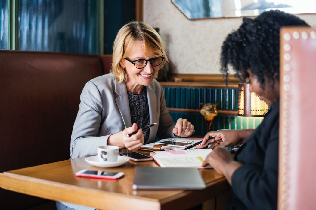 lawyer client talking